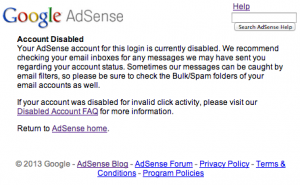 AdSense Account Disabled Notice